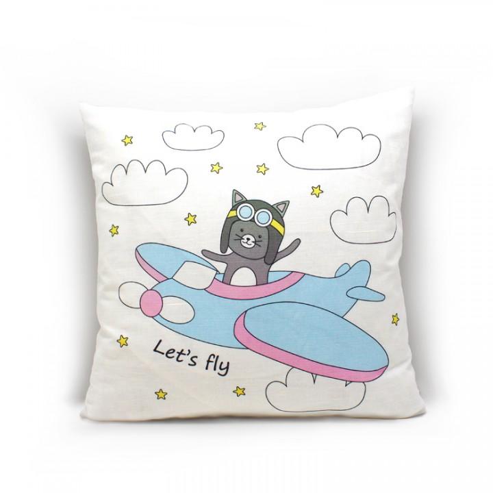 Наволочки для декоративных подушек. Кот самолет
