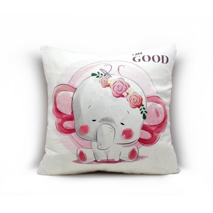Наволочки для декоративных подушек. Слоненок розовый