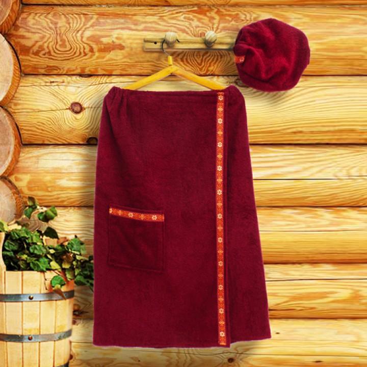 Набор для сауны XL, цвет бордо