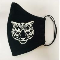 Многоразовая маска (повязка) для лица на резинках с принтом - тигр