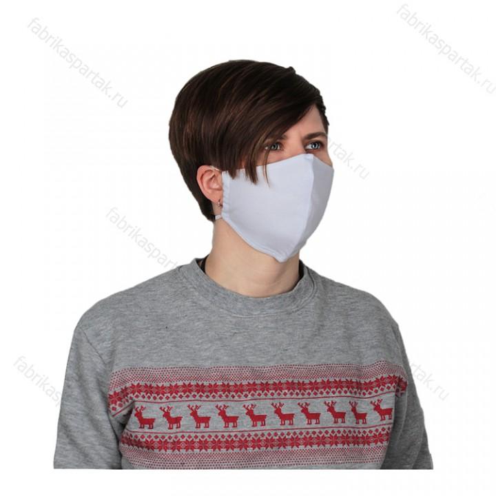Многоразовая маска (повязка) для лица на резинках из трикотажа, белая, S
