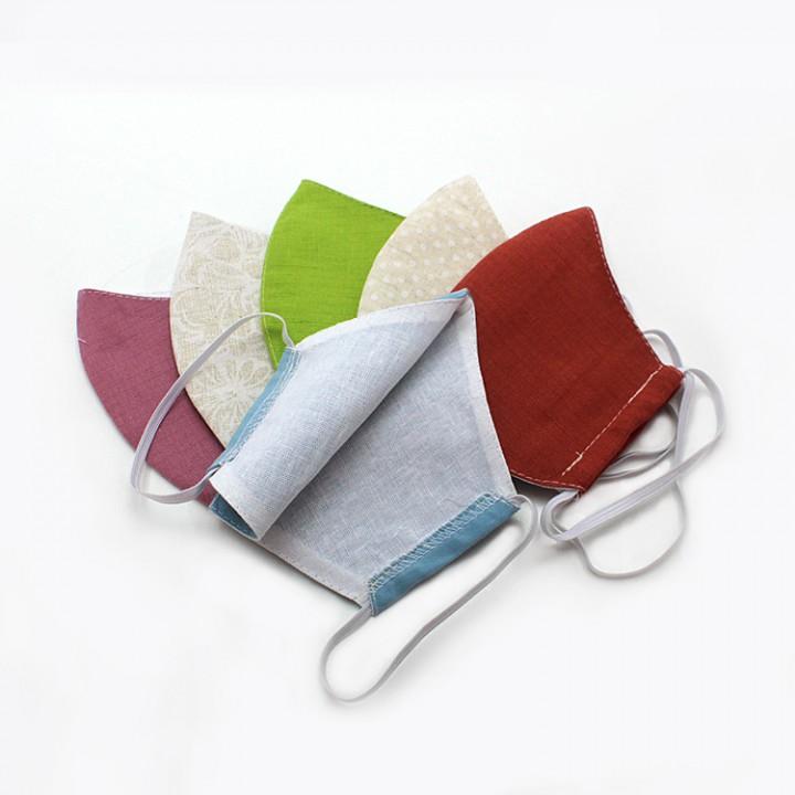 Многоразовая маска (повязка) для лица однотононные, лен, ассортимент, на резинках