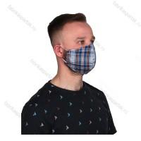 Многоразовая маска (повязка) для лица на резинках, хлопок, шотланка