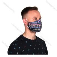 Многоразовая маска (повязка) для лица на резинках из трикотажа, восток, L