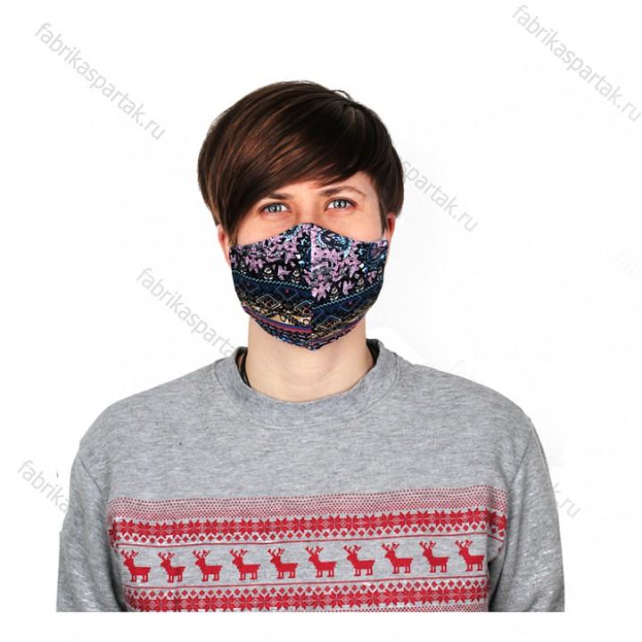 Многоразовая маска (повязка) для лица на резинках из трикотажа, восток, S