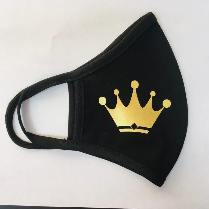 Многоразовая маска (повязка) для лица на резинках с принтом - корона