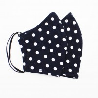 Многоразовая маска (повязка) для лица на трикотажных резинках, горошек, S