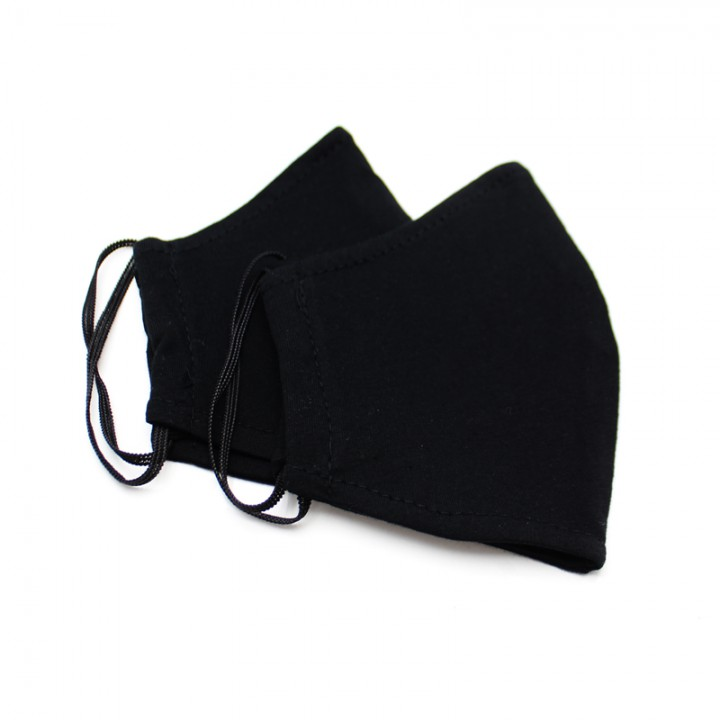 Многоразовая маска (повязка) для лица на резинках, черная. L, арт. М-10