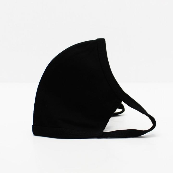 Многоразовая маска (повязка) для лица на трикотажных резинках, черная, L, арт. М-11