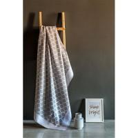 Байковое одеяло 212х150 Премиум, Четырехлистник-Светло-серый