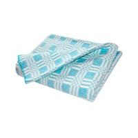 Байковое одеяло стандарт 140х205 Комбинированная клетка-Бирюза