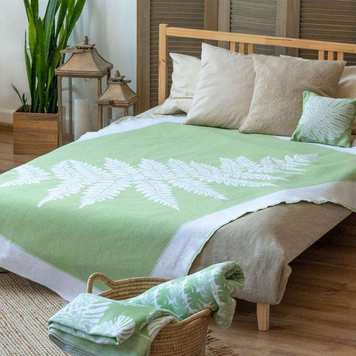 Байковое одеяло 212х150 Премиум, Папортник-Мятный