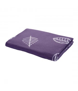 150х212 Байковое одеяло, Премиум, Листья, черничный