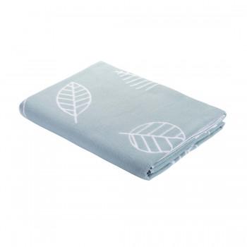 150х212 Байковое одеяло, Премиум, Листья, серый