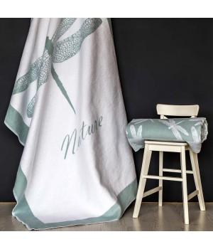212х150 Байковое одеяло, Премиум, Стрекоза, льдистый