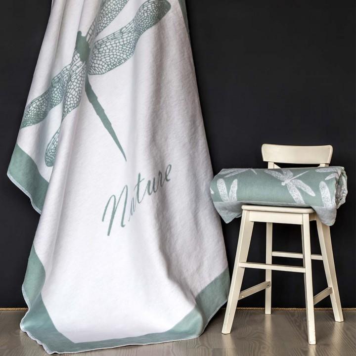 Байковое одеяло 212х150 Премиум, Стрекоза льдистый