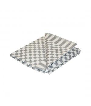 90х112 Байковое одеяло дет, Стандарт, Мелкая клетка-серый
