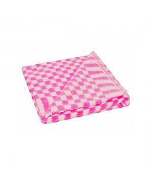 100х140 Байковое одеяло дет, Стандарт, Мелкая клетка-розовый