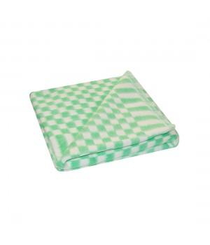 100х140 Байковое одеяло дет, Стандарт, Мелкая клетка-зеленый