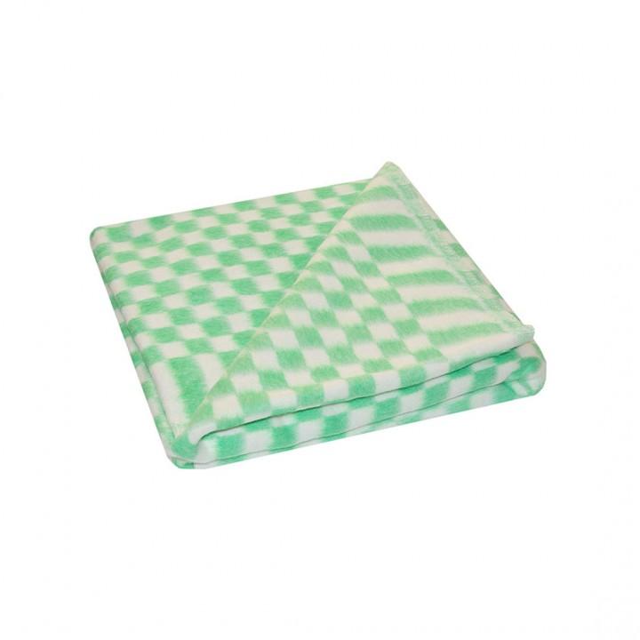 Байковое одеяло детское стандарт 100х140 мелкая клетка - Зеленый