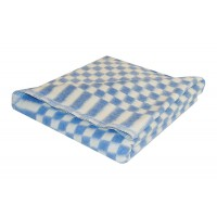 Байковое одеяло детское стандарт 90х112 мелкая клетка - Синий