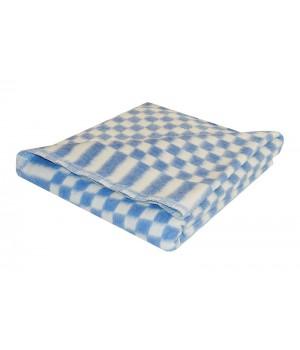 90х112 Байковое одеяло дет, Стандарт, Мелкая клетка-синий