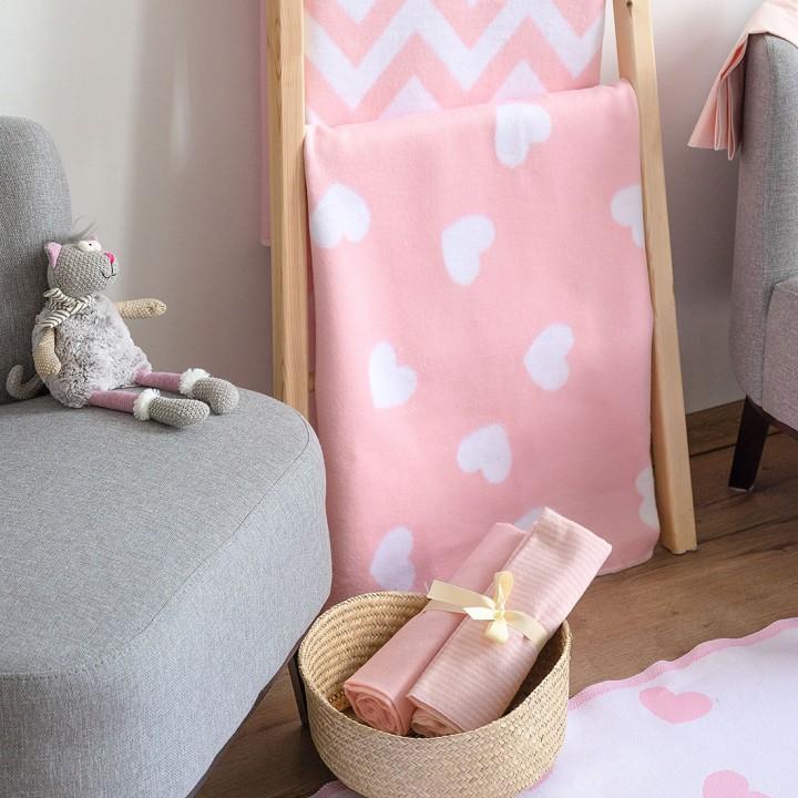 Байковое одеяло детское премиум 100х140 Сердечки фламинго