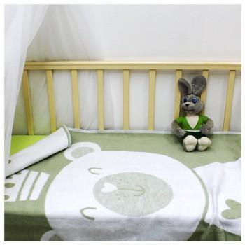 100х140 Байковое одеяло дет, Премиум, Мишка омела