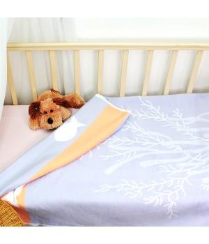 100х140 Байковое одеяло дет, Премиум, Рыбки