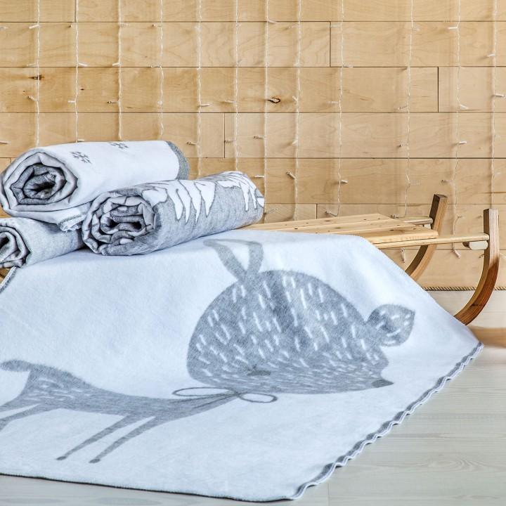 Байковое одеяло детское премиум 100х140 Олененок, серый