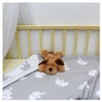 Байковое одеяло детское премиум 100х140 Св.серый слоники