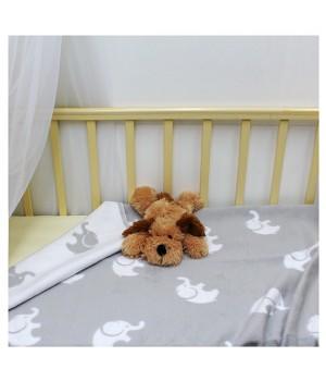 100х140 Байковое одеяло дет, Премиум, Св.серый слоники