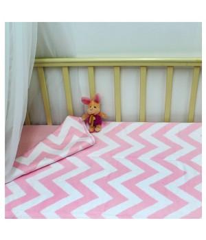 118х100 Байковое одеяло дет, Премиум, Зигзаги фламинго