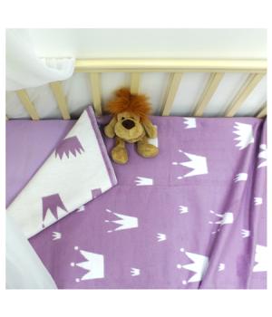 100х140 Байковое одеяло дет, Премиум, Валериана короны и сердечки