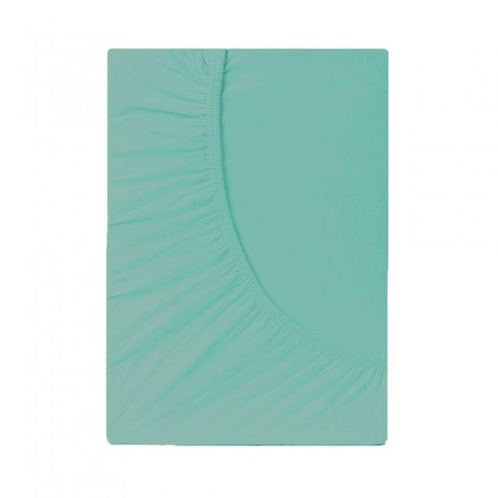 Простыня на резинке трикотажная, цвет Ментоловый