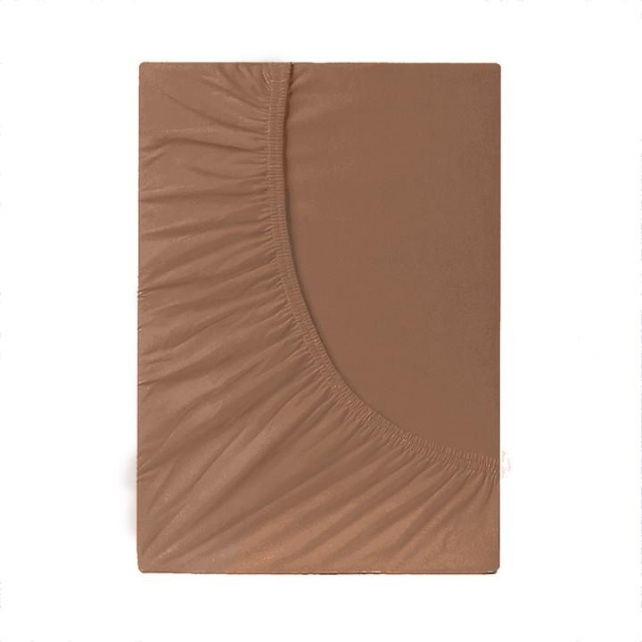 Простыня на резинке трикотажная, цвет Мокко
