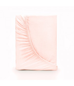 Простыня на резинке трикотаж - Пастельно-розовый