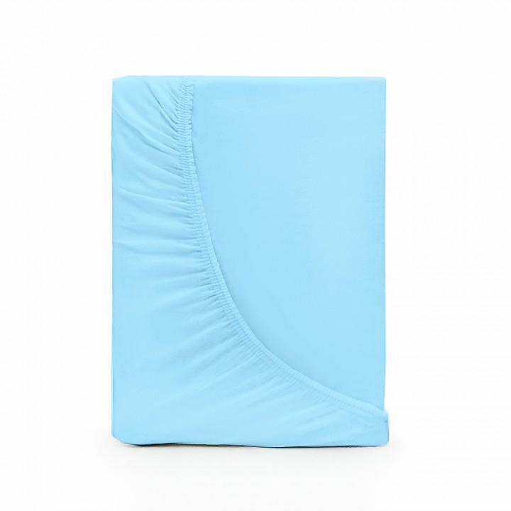 Простыня на резинке трикотажная, Голубой цвет