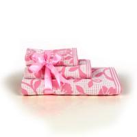 Полотенце 50х90 розовое Цветы_14