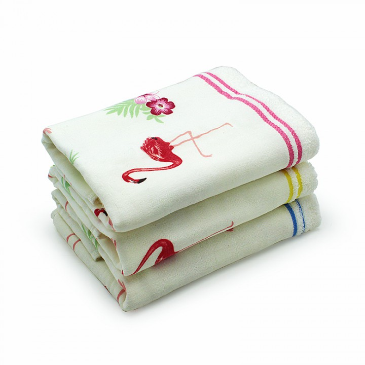 Полотенце 50х90 хлопок+махра, фламинго_01