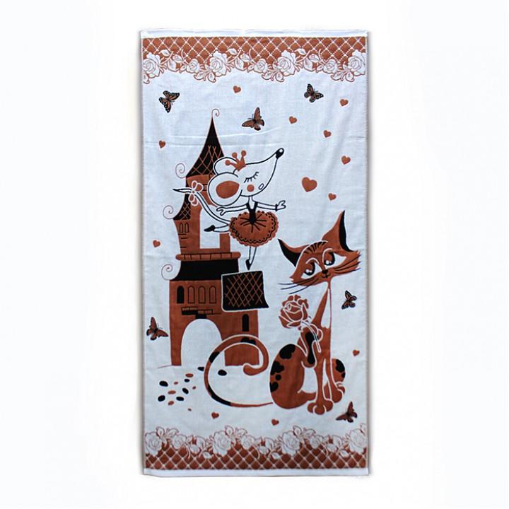 Полотенце 70х140 хлопковое, кошкимышки, коричневое
