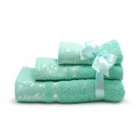 Набор махровых полотенец ментолового цвета