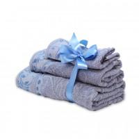 Набор махровых полотенец серо-голубого цвета