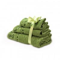 Набор махровых полотенец болотного цвета