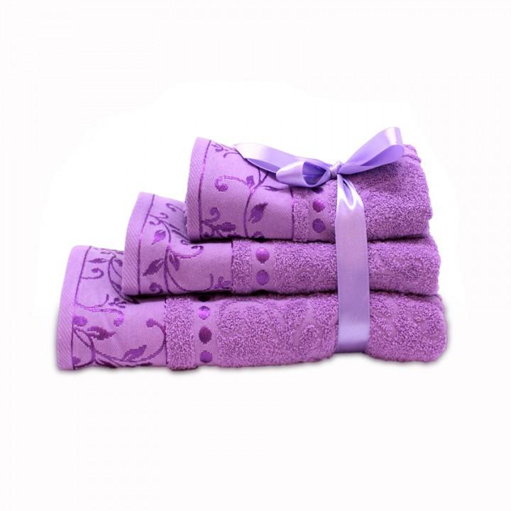 Набор махровых полотенец сиреневого цвета