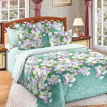 Постельное белье бязь 2сп. на резинке 180х200, Яблони в цвету