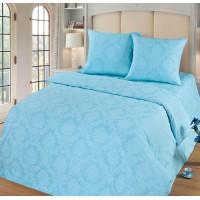 Постельное белье из поплина - 2 спальное - простыня на резинке 160х200х25 - Аквамарин