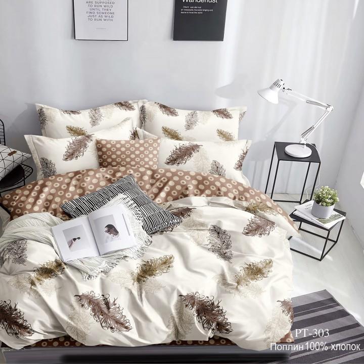 Постельное белье из поплина - 2 спальное - простыня на резинке 160х200х25 - PT-303