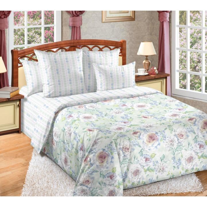 Постельное белье перкаль 2 спальное на резинке - Белая роза