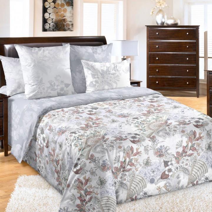 Постельное белье перкаль 2 спальное на резинке 160х200х25 - Шелковый веер